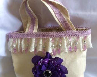 Crean and Purple Shabby Chic Tote Bag, REDUCED