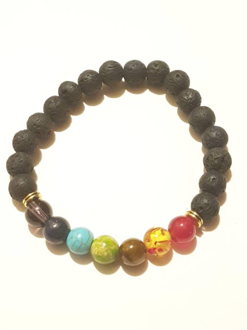 Man Essential oil diffuser. 7 stone chakra bracelet Women unisex bracelet Lava rock bracelet Yoga bracelet