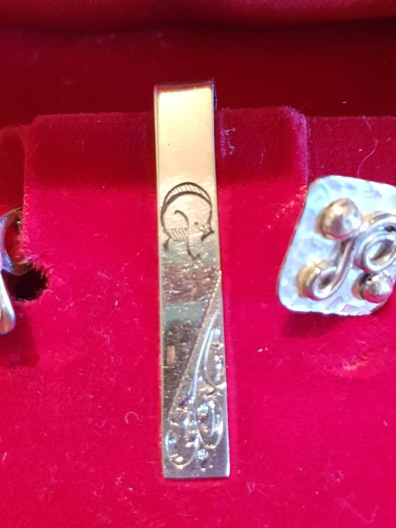 Swank Sterling tie clip set Vintage Silver tie clip and cuff links Group Seven