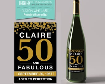50 birthday wine label - birthday wine - 50 and fabulous - 50th birthday gift - gift for her - personalized label - waterproof labels