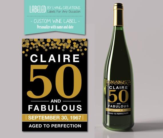 50 birthday wine label birthday wine 50 and fabulous etsy