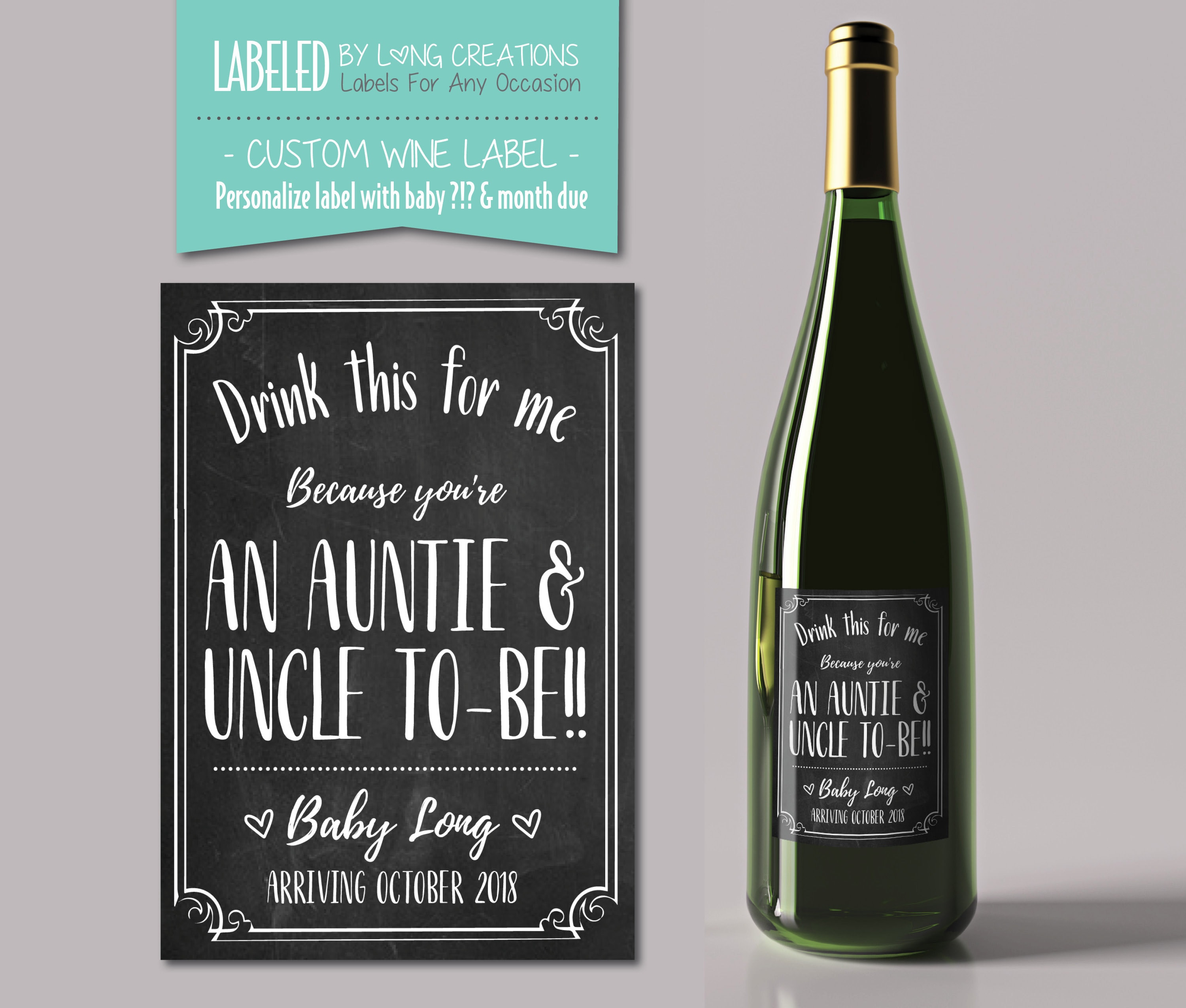auntie & uncle to be wine label – new auntie / uncle gift – pregnancy announcement – baby announcement – personalized sticker – custom label                                                                    Labeledbylong                               5 out of 5 stars                                                                                                                                                                                                                                                          (926)                                                      CA$6.00                                                                   FREE delivery