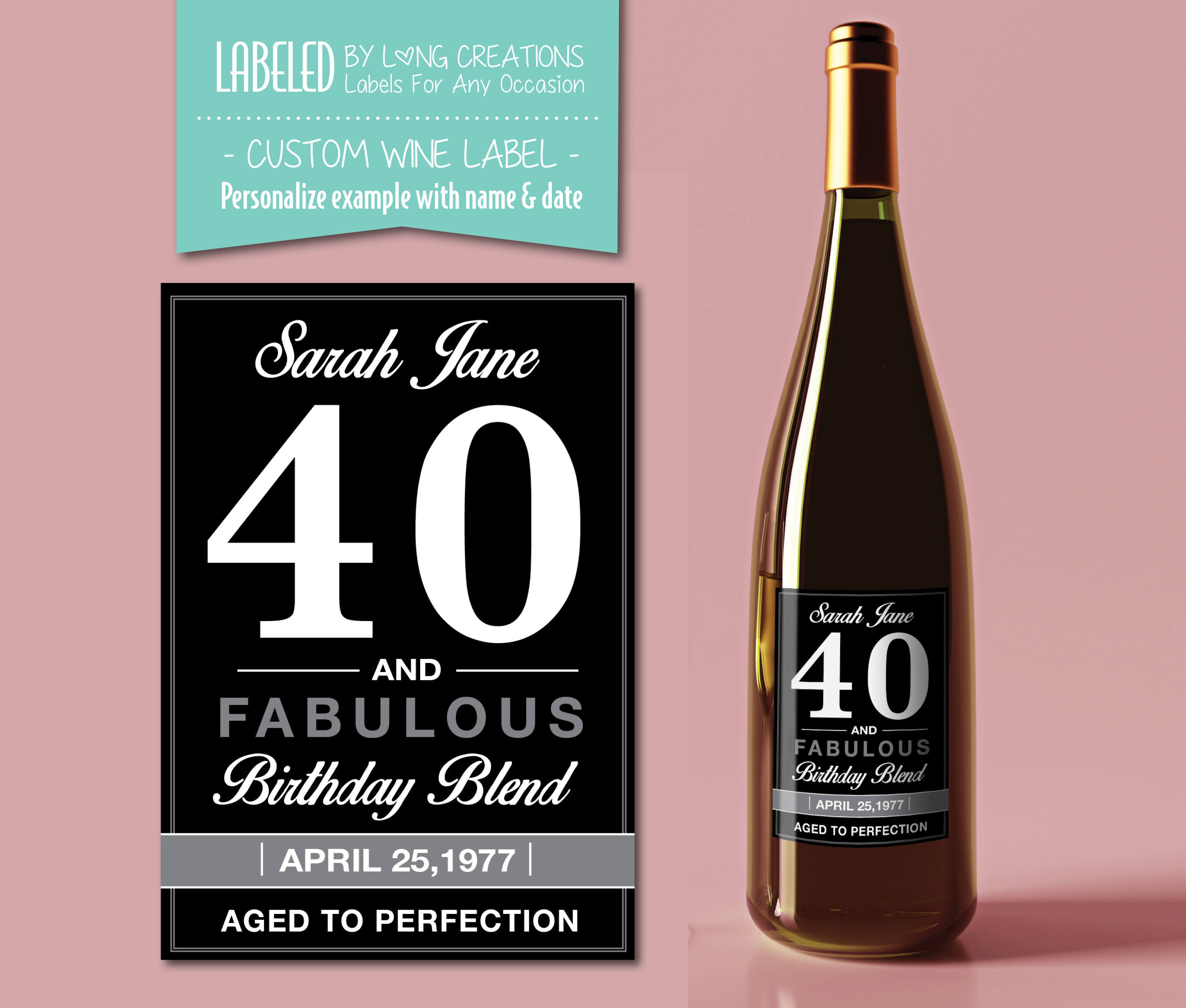 40 birthday wine label 40 and fabulous wine sticker | Etsy