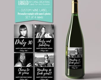 birthday wine labels - 30th birthday - dirty thirty labels - custom wine label - milestone wine label - birthday gift - waterproof label