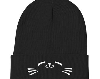 Super Cute Cat face Knit Beanie c9710cd0b1b