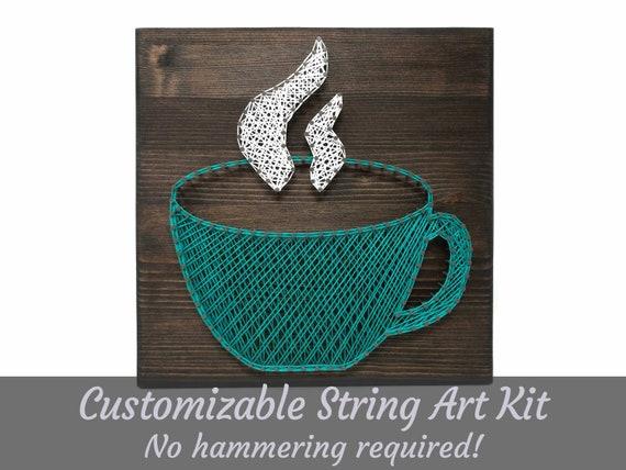 Coffee Mug Art String Art Kit Coffee String Art Craft Kit Etsy