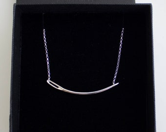Sewing needle curved necklace / sterling silver