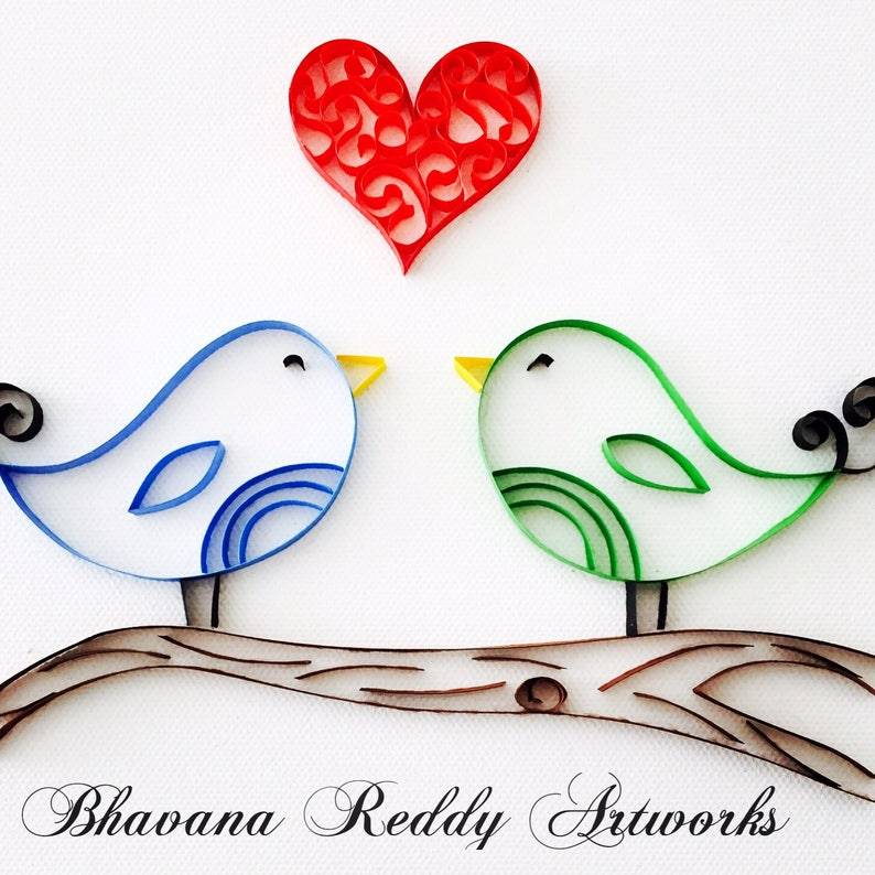 Love Birds - Quilled Paper Art
