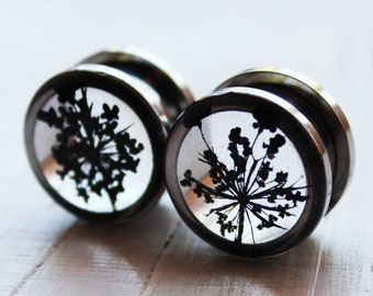 pressed flower black wedding plug and tunnel terrarium jewelry gauge plug ear tunnel 00g 0g1/2 3/8 gauge earrings ear stretchers ear weights