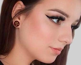 ohm plugs namaste yoga jewelry vegan gift Buddhist jewelry ear stretchers 00 ear gauges 0g 10 mm 5/16 3/8 1/2 13/16 7/8, double flare plugs