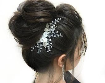 Flower Hair Comb Bridal Hair Piece Wedding Headpiece Flower Accessories Floral Hairpiece Beaded Headpiece Pearl Hair Comb Bridal Beaded Comb