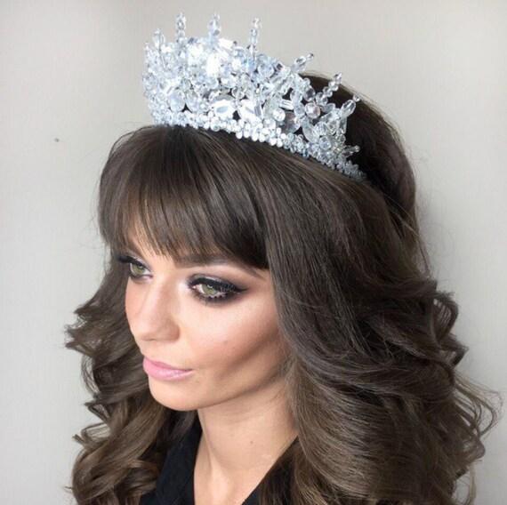 Crystal crown bridal Tiara wedding Royal crown Swarovski tiara Crystal headpiece