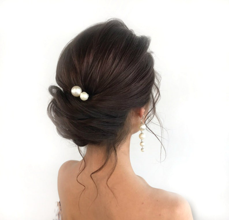 Hair Piece Bridal Pearl Hair Pins Set of 4 and Earrings Wedding Pearl Earrings Bridesmaid Accessories 14mm and 18 mm Pearl Bobby Pins