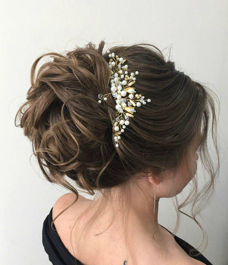 Bridesmaid Hair Comb Gold Wedding Headpiece Wedding Crystal Pearl Back Comb Gold Wedding Hair Piece Bridal Beaded Hairpiece