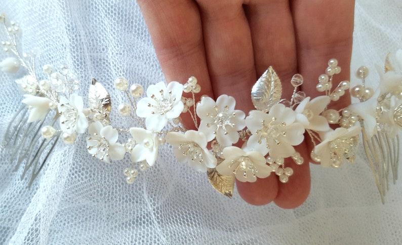 gold or rose gold Bridal hair piece pearl flower Wedding hair vine silver