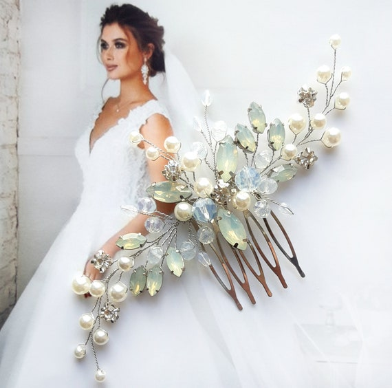 White opal hair comb Moonstone wedding hair piece for bride