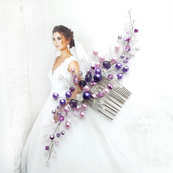 Purple wedding hair comb, Pearl crystal bridal hair piece, Lavender bridal hairpiece