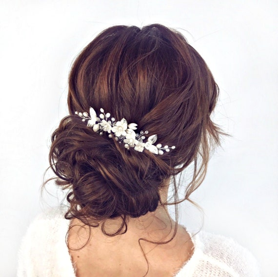 Bridal floral hair comb, Pearl hair comb, Flower hair piece  with leaves silver or gold