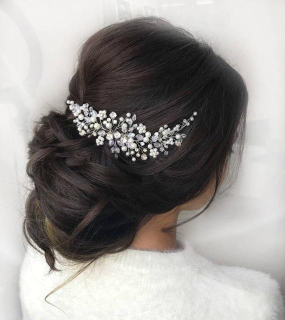 Wedding hair piece pearl crystal Bridal hair comb silver or gold