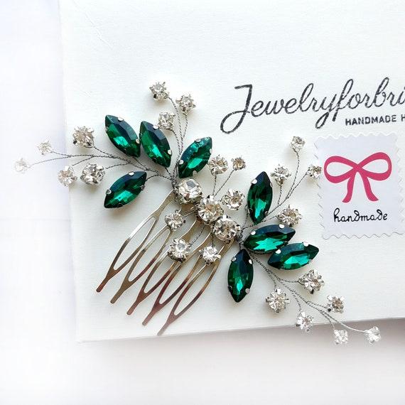 Bridal hair comb Emerald headpiece Green crystal hair piece