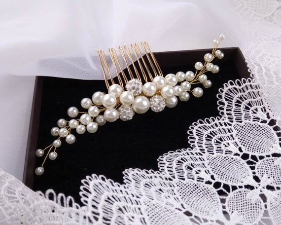 Pearl hair comb for bridal, wedding pearl hair piece, Bridal beaded comb silver or gold
