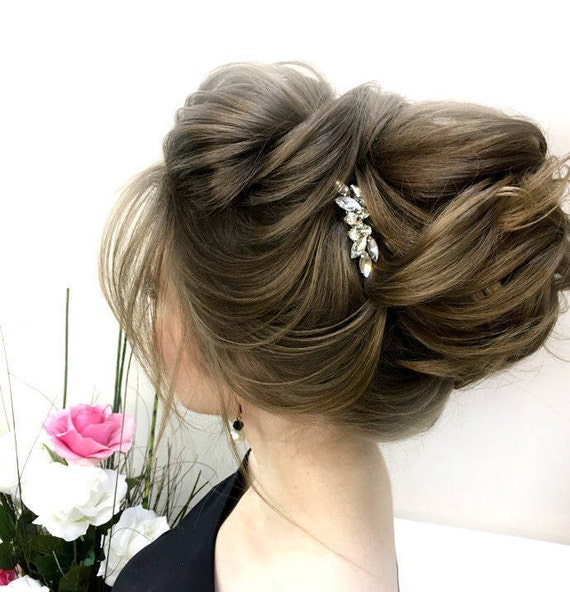 Bridal rhinestone hair comb Small wedding hair piece silver or gold