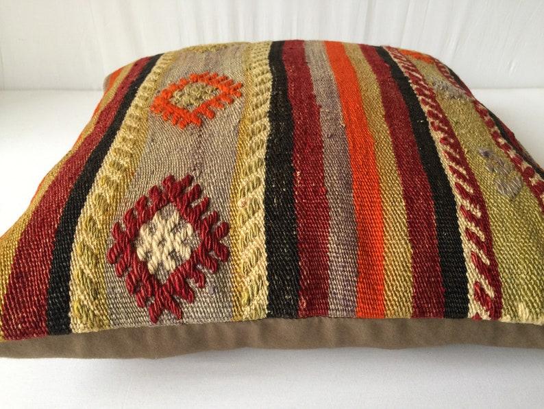 18x18 inch 45x45 cm Embroedered Kilim Pillow Turkish Handmade Kilim Pillow, Anatolian Kilim Pillow Kilim Pillows Ethnic Kilim Pillow