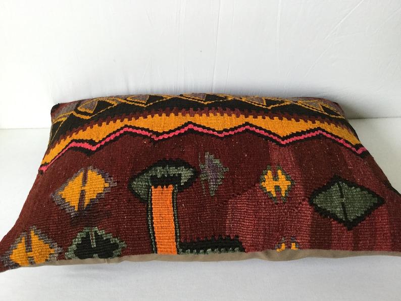 Kilim Pillow Anatolian Kilim Pillow 24x16 inch 60x40 cm Decorative Kilim Pillow Turkish Handmade Kilim Pillow, Ethnic Kilim Pillow