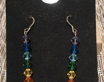 CHAKRA Earrings Swarovski Crystals Sterling Silver