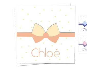 Chloe girl birth announcement - Bow - customizable