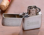 Engraved ZIPPO Lighter Personalized Custom Chrome Silver Gray Grey Husband Groomsmen Dad Father Gift Brother Birthday Anniversary Present