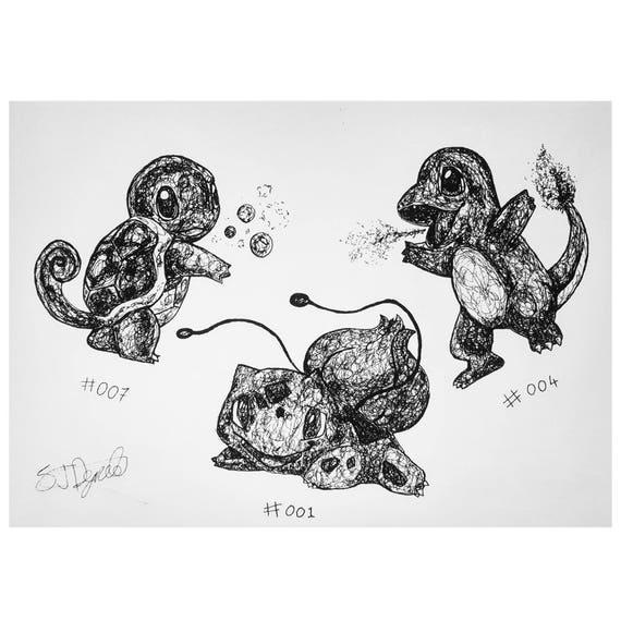 A4 Starter Pokemon Print Bulbasaur Charmander Squirtle Illustration By Sammy John De Freitas