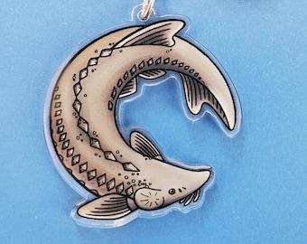 """Lake sturgeon fish keychain   2"""" Acrylic charm"""