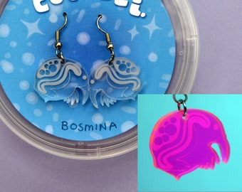 Bosmina - water flea - zooplankton earrings   Science Earrings