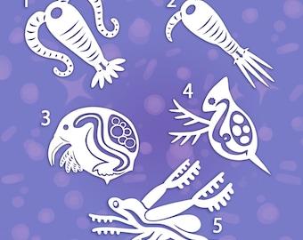 Zooplankton vinyl stickers decals - calanoid - cyclopoid - bosmina - daphnia - leptodora   Science