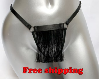 470fbc6377e Black Crotchless Panties sheer see through lingerie fringe Sexy Kniky  strappy Fetish wear Bondage Harness Body Erotic lingerie Strappy