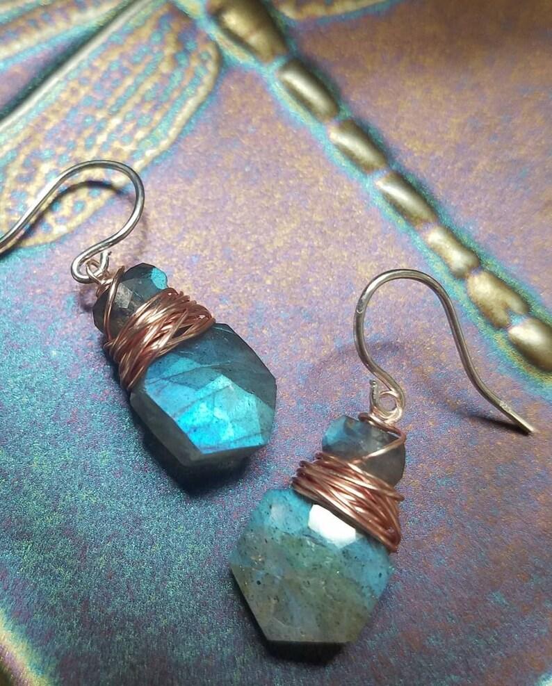 Labradorite Orange Carnelian or Rainbow Moonstone Gemstone Earrings Sterling Silver Your Choice of Gemstone
