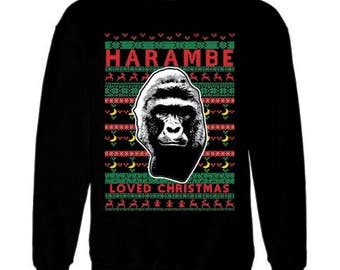Fast Shipping-On sale today-Harambe loved Christmas -Merry Christmas, UGLY CHRISTMAS SWEATER, Merry Chirithmith