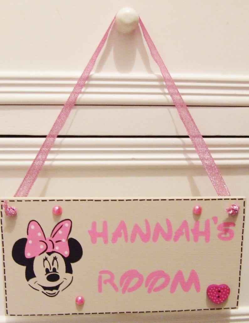 Handmade Personalised Girls Minnie Mouse Bedroom Nursery Plaque Sign Home Gift