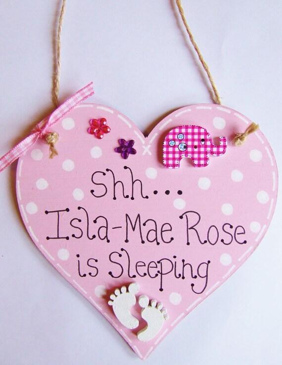 NEW Baby Sleeping Boy Girl Door Hanger Plaque Sign Pink Blue Nursery Bedroom