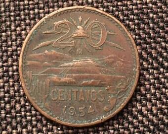 1954 Mexican 20 Centavos