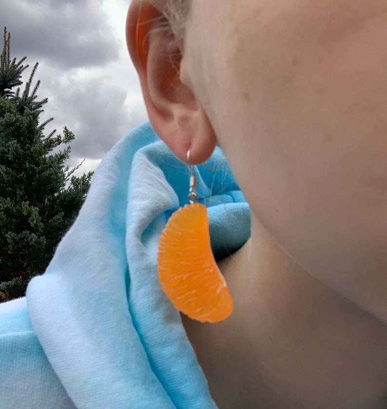 Orange Slice Earrings-Fruit Earrings-Food themed earrings-food themed jewelry-Fruit Jewelry