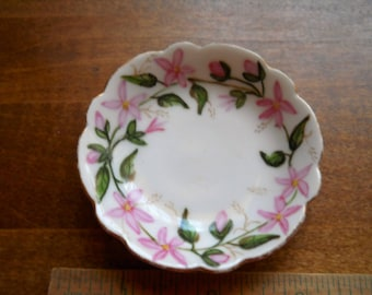 Butter Pat Plate Vintage H & Co./L Handpainted Signed 14k gold trim on edge Shabby Chic Pink Flowers Scalloped Edge