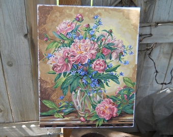 Hand Painted One of a Kind Floral Paint by Number