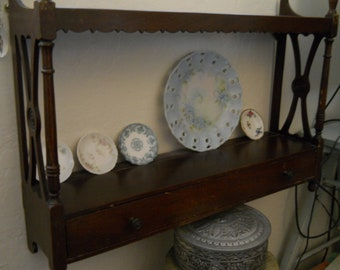 Wood Shelf Vintage Two Shelves and Drawer Vintage Victorian Style Curio Shelf