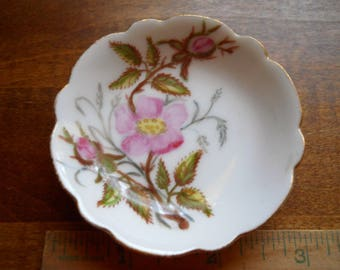 Hand Painted Butter Pat Plate Vintage Hand Painted Signed Floral pattern. Shabby Chic H & Co./L
