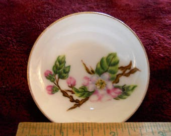 Vintage hand painted butter pat plate. Very pretty floral pic. Old fashioned roses and buds.By MLG 1882 Shabby chic Collectable