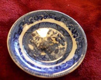 Vintage Blue Willow Buffalo Pottery Butter Pat Plate Shows as Old 1916 Semi Vitreous, Great shabby chic look Collectable