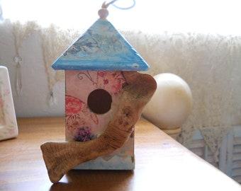 Hand Decoupaged Bird House