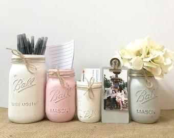 Genial Rustic Mason Jar Desk Set For Women, Office Desk Set For Girls, Shabby Chic  Office Decor, Rustic Desk Accessories Set, Flower Pens